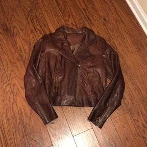 Faux Leather Motorcycle Jacket in Cognac Brown